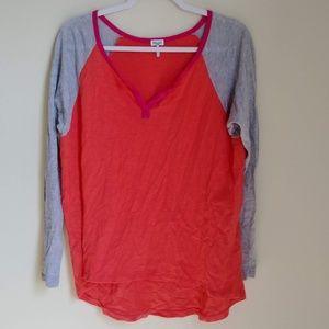 Splendid Pink Red Colorblock Henley Top Shirt Sz M